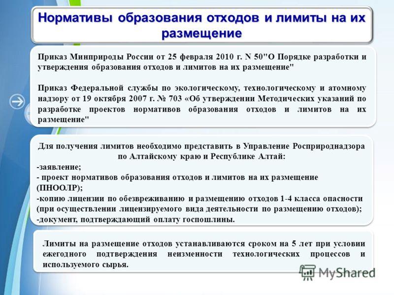 Powerpoint Templates Page 16 Нормативы образования отходов и лимиты на их размещение Приказ Минприроды России от 25 февраля 2010 г. N 50