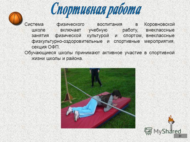 Система физического воспитания в Коровновской школе включает учебную работу, внеклассные занятия физической культурой и спортом, внеклассные физкультурно-оздоровительные и спортивные мероприятия, секция ОФП. Обучающиеся школы принимают активное участ