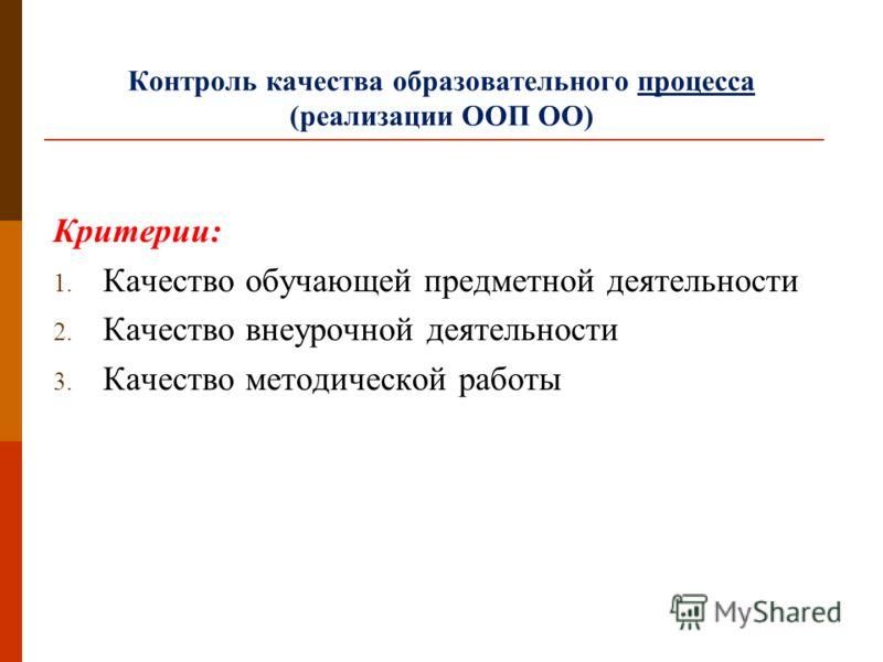 Контроль качества образовательного процесса (реализации ООП ОО) Критерии: 1. Качество обучающей предметной деятельности 2. Качество внеурочной деятельности 3. Качество методической работы