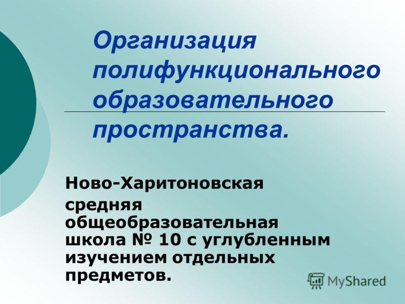 Организация полифункционального образовательного пространства. Ново-Харитоновская средняя общеобразовательная школа 10 с углубленным изучением отдельных предметов.