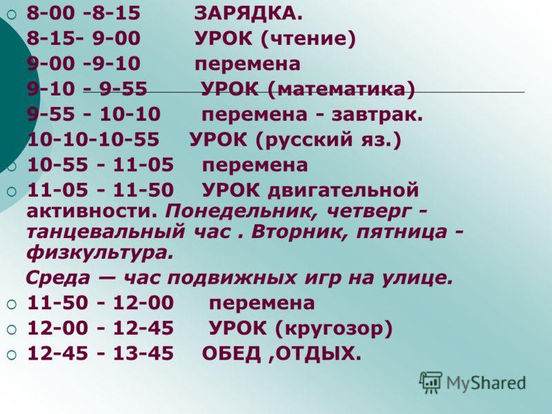 8-00 -8-15 ЗАРЯДКА. 8-15- 9-00 УРОК (чтение) 9-00 -9-10 перемена 9-10 - 9-55 УРОК (математика) 9-55 - 10-10 перемена - завтрак. 10-10-10-55 УРОК (русский яз.) 10-55 - 11-05 перемена 11-05 - 11-50 УРОК двигательной активности. Понедельник, четверг - т