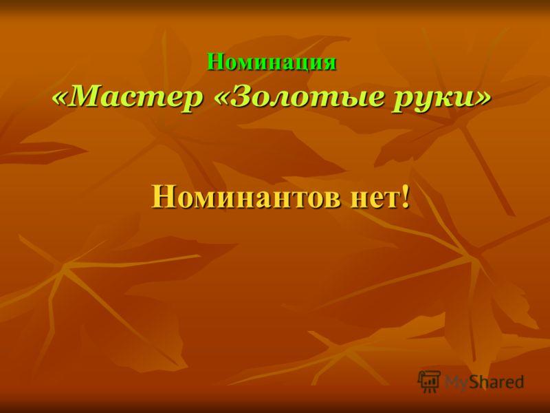 Номинация «Мастер «Золотые руки» Номинантов нет!
