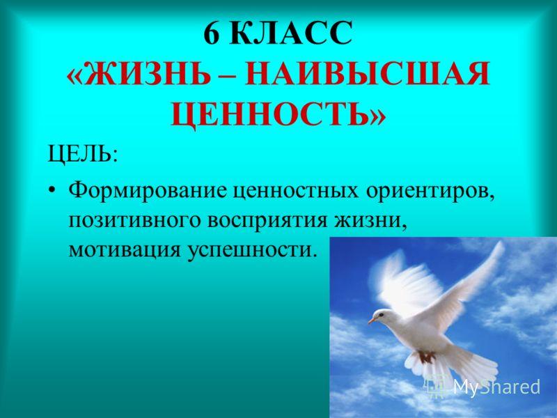 6 КЛАСС «ЖИЗНЬ – НАИВЫСШАЯ ЦЕННОСТЬ» ЦЕЛЬ: Формирование ценностных ориентиров, позитивного восприятия жизни, мотивация успешности.