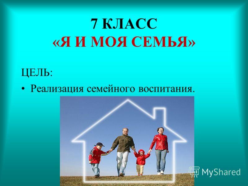 7 КЛАСС «Я И МОЯ СЕМЬЯ» ЦЕЛЬ: Реализация семейного воспитания.