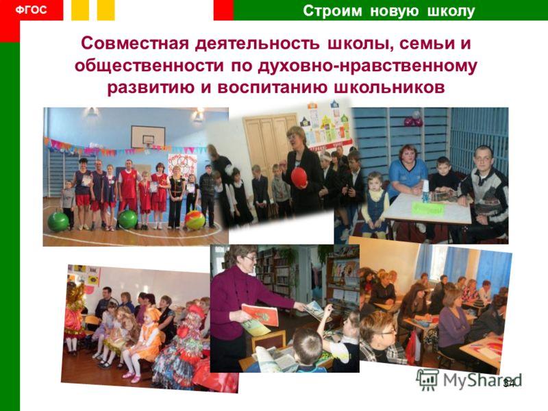 Строим новую школу ФГОС Совместная деятельность школы, семьи и общественности по духовно-нравственному развитию и воспитанию школьников 34