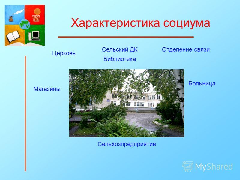Характеристика социума Сельский ДК Библиотека Больница Отделение связи Сельхозпредприятие Магазины Церковь