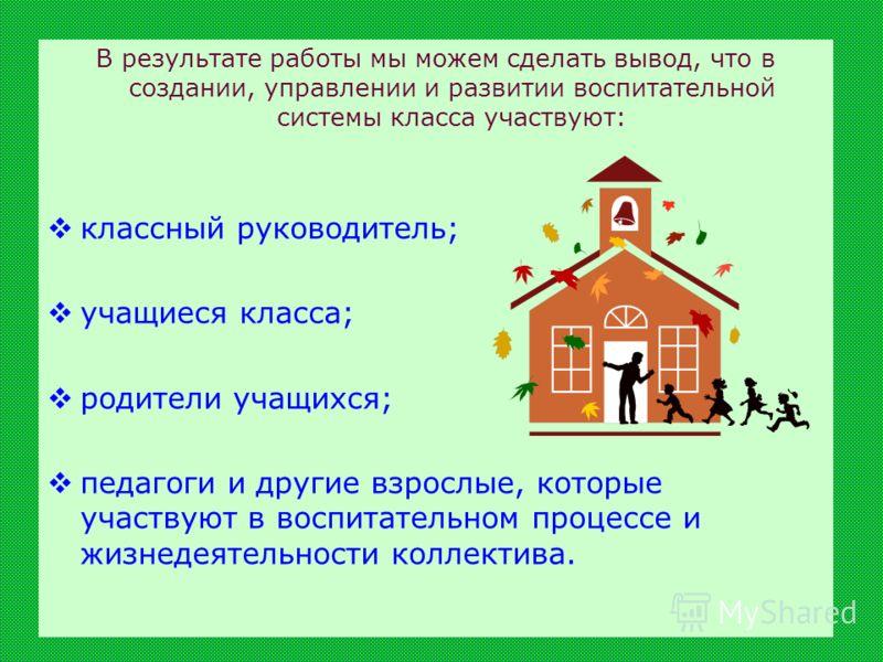 В результате работы мы можем сделать вывод, что в создании, управлении и развитии воспитательной системы класса участвуют: классный руководитель; учащиеся класса; родители учащихся; педагоги и другие взрослые, которые участвуют в воспитательном проце