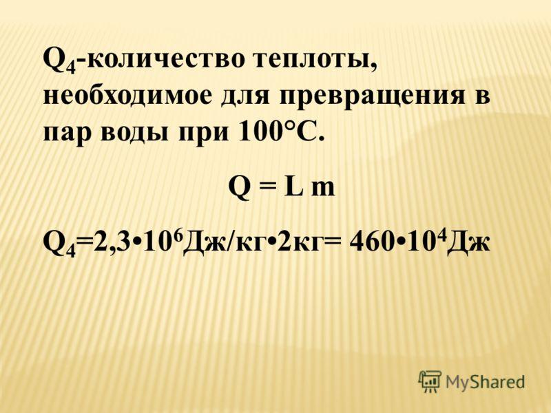 Q 4 -количество теплоты, необходимое для превращения в пар воды при 100°C. Q = L m Q 4 =2,310 6 Дж/кг2кг= 46010 4 Дж