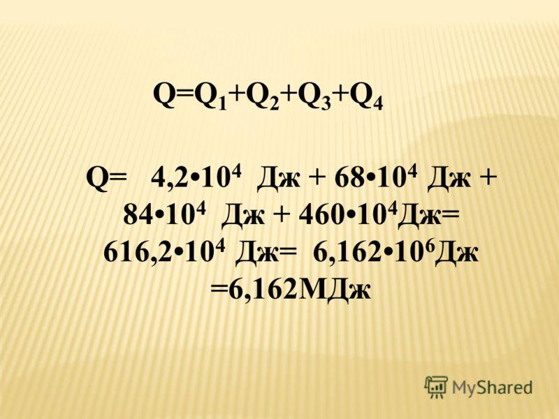 Q=Q 1 +Q 2 +Q 3 +Q 4 Q= 4,210 4 Дж + 6810 4 Дж + 8410 4 Дж + 46010 4 Дж= 616,210 4 Дж= 6,16210 6 Дж =6,162МДж