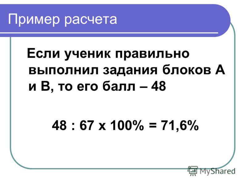 Пример расчета Если ученик правильно выполнил задания блоков А и В, то его балл – 48 48 : 67 х 100% = 71,6%