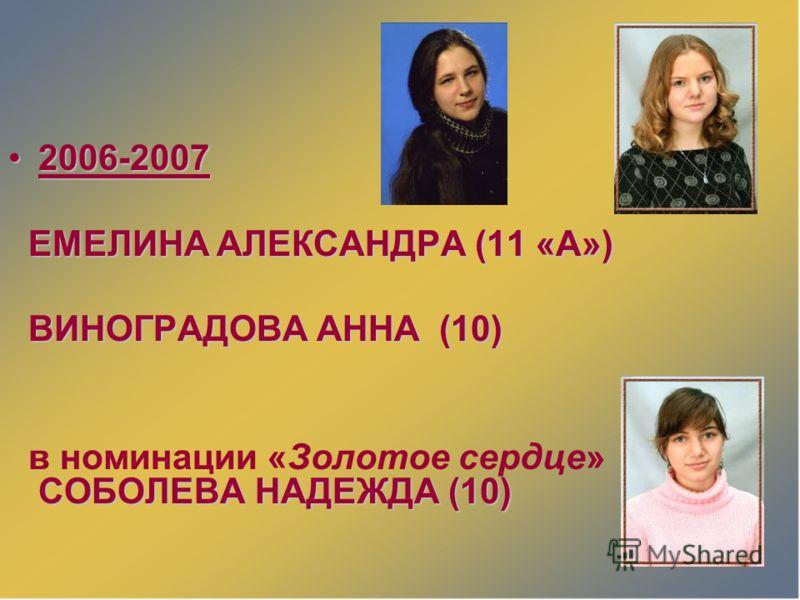 2006-20072006-2007 ЕМЕЛИНА АЛЕКСАНДРА (11 «А») ЕМЕЛИНА АЛЕКСАНДРА (11 «А») ВИНОГРАДОВА АННА (10) ВИНОГРАДОВА АННА (10) СОБОЛЕВА НАДЕЖДА (10) в номинации «Золотое сердце» СОБОЛЕВА НАДЕЖДА (10)