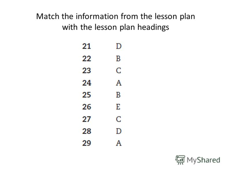 Match the information from the lesson plan with the lesson plan headings