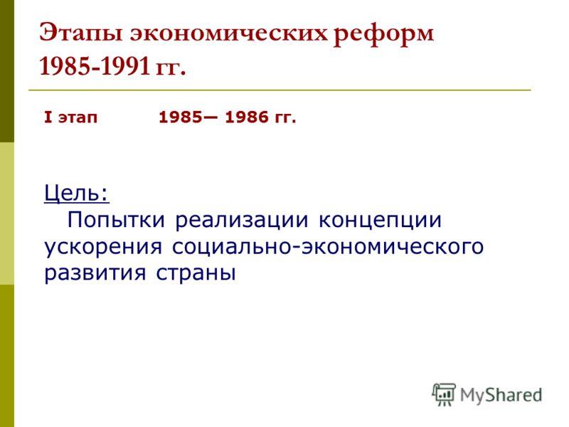 Этапы экономических реформ 1985-1991 гг. I этап 1985 1986 гг. Цель: Попытки реализации концепции ускорения социально-экономического развития страны