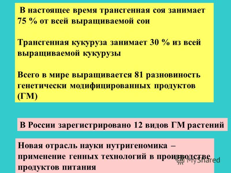 В настоящее время трансгенная соя занимает 75 % от всей выращиваемой сои Трансгенная кукуруза занимает 30 % из всей выращиваемой кукурузы Всего в мире выращивается 81 разновиность генетически модифицированных продуктов (ГМ) В России зарегистрировано