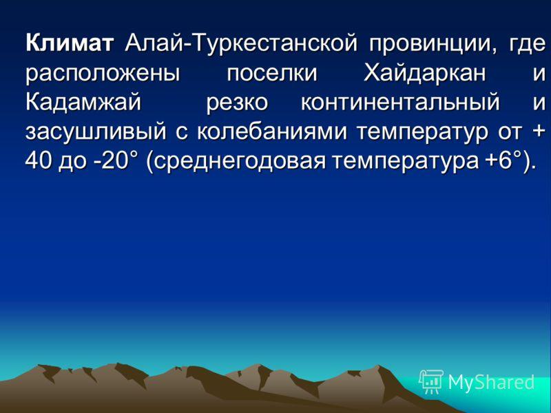 Климат Алай-Туркестанской провинции, где расположены поселки Хайдаркан и Кадамжай резко континентальный и засушливый с колебаниями температур от + 40 до -20° (среднегодовая температура +6°).