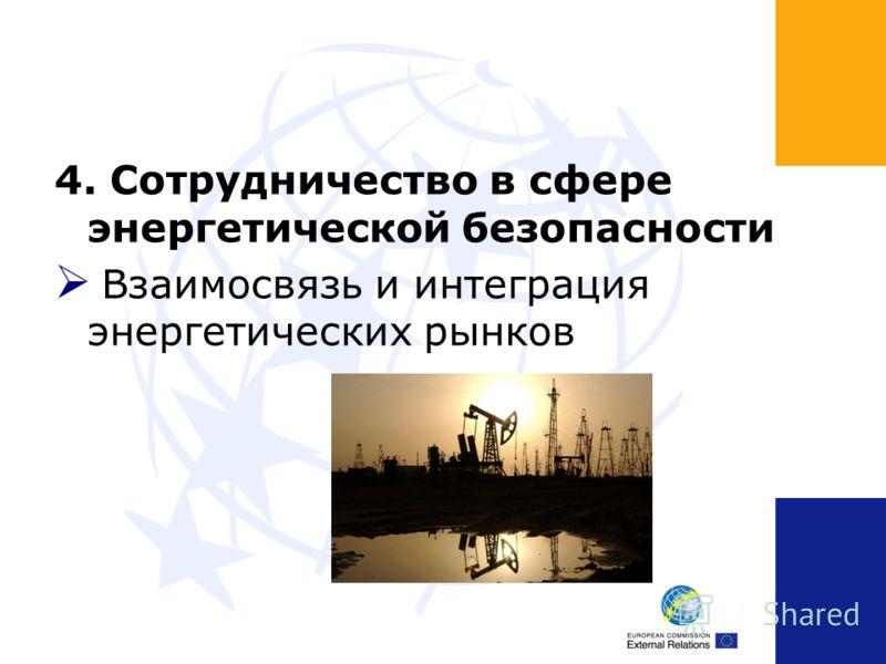 4. Сотрудничество в сфере энергетической безопасности Взаимосвязь и интеграция энергетических рынков