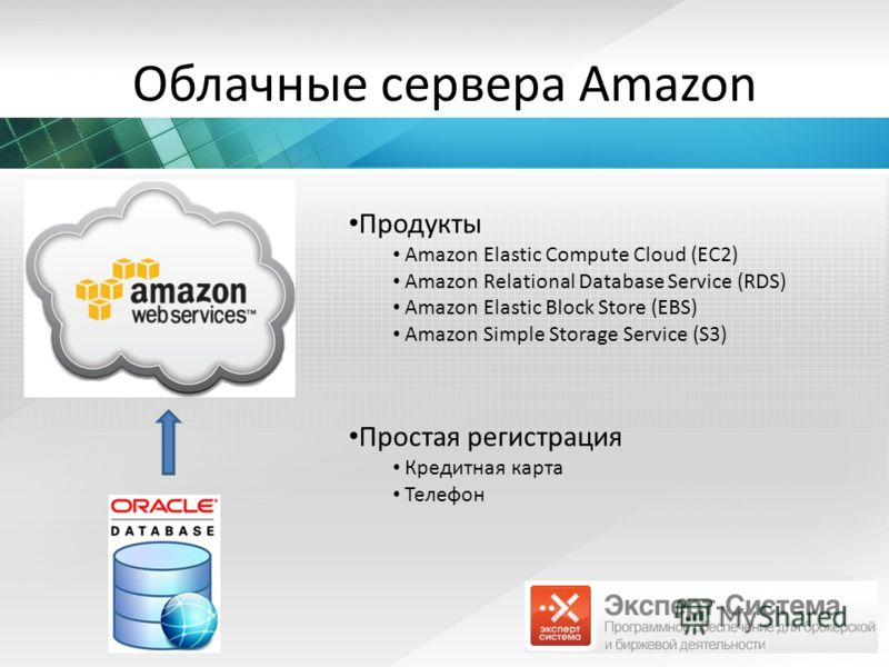 Облачные сервера Amazon Продукты Amazon Elastic Compute Cloud (EC2) Amazon Relational Database Service (RDS) Amazon Elastic Block Store (EBS) Amazon Simple Storage Service (S3) Простая регистрация Кредитная карта Телефон