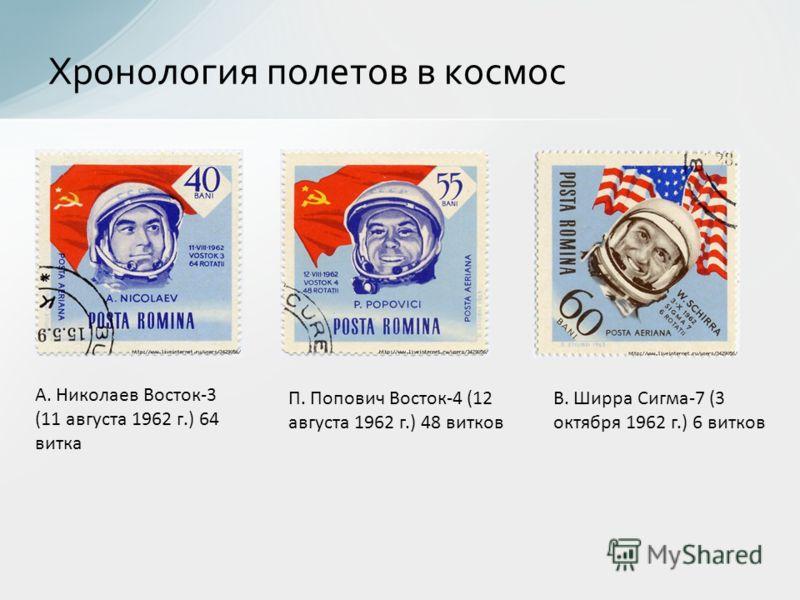 Хронология полетов в космос А. Николаев Восток-3 (11 августа 1962 г.) 64 витка П. Попович Восток-4 (12 августа 1962 г.) 48 витков В. Ширра Сигма-7 (3 октября 1962 г.) 6 витков