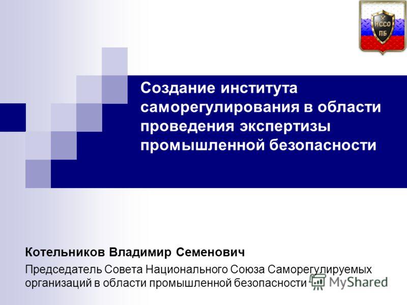 Котельников Владимир Семенович Председатель Совета Национального Союза Саморегулируемых организаций в области промышленной безопасности Создание института саморегулирования в области проведения экспертизы промышленной безопасности