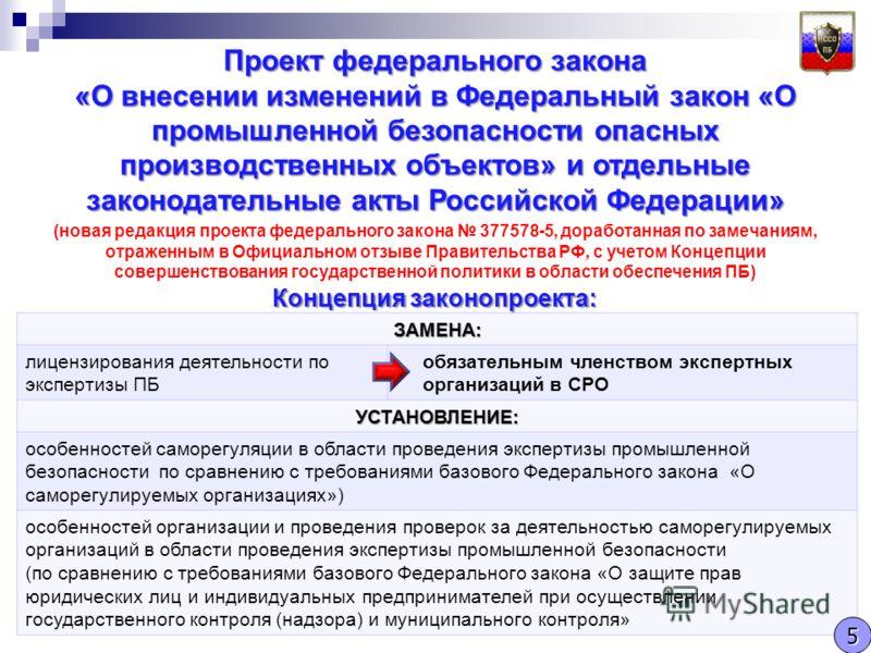 Проект федерального закона «О внесении изменений в Федеральный закон «О промышленной безопасности опасных производственных объектов» и отдельные законодательные акты Российской Федерации» (новая редакция проекта федерального закона 377578-5, доработа