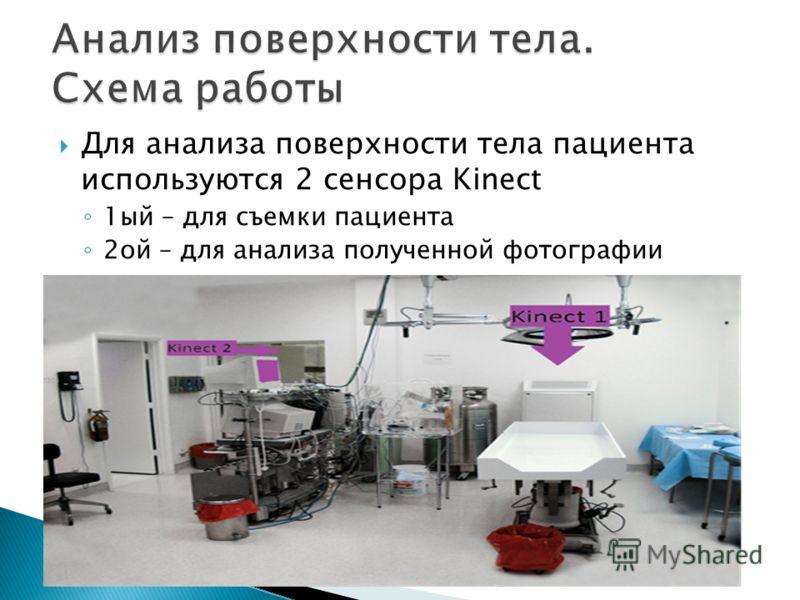 Для анализа поверхности тела пациента используются 2 сенсора Kinect 1ый – для съемки пациента 2ой – для анализа полученной фотографии