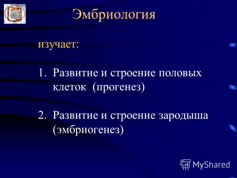 Эмбриология изучает: 1. Развитие и строение половых клеток (прогенез) 2. Развитие и строение зародыша (эмбриогенез)