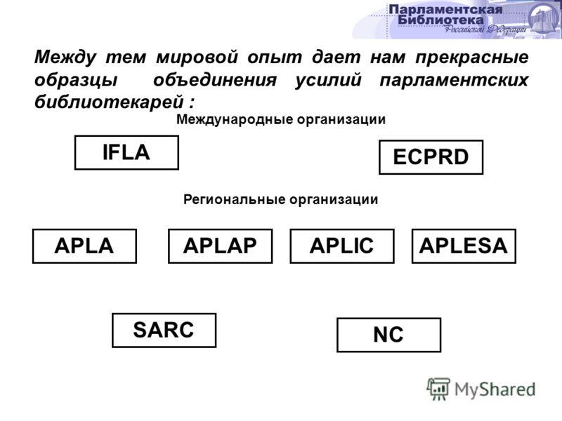 Между тем мировой опыт дает нам прекрасные образцы объединения усилий парламентских библиотекарей : Международные организации IFLA ECPRD Региональные организации APLAAPLAPAPLICAPLESA SARC NC