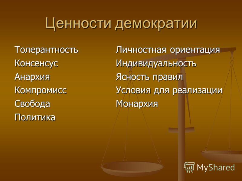 Ценности демократии ТолерантностьКонсенсусАнархияКомпромиссСвободаПолитика Личностная ориентация Индивидуальность Ясность правил Условия для реализации Монархия