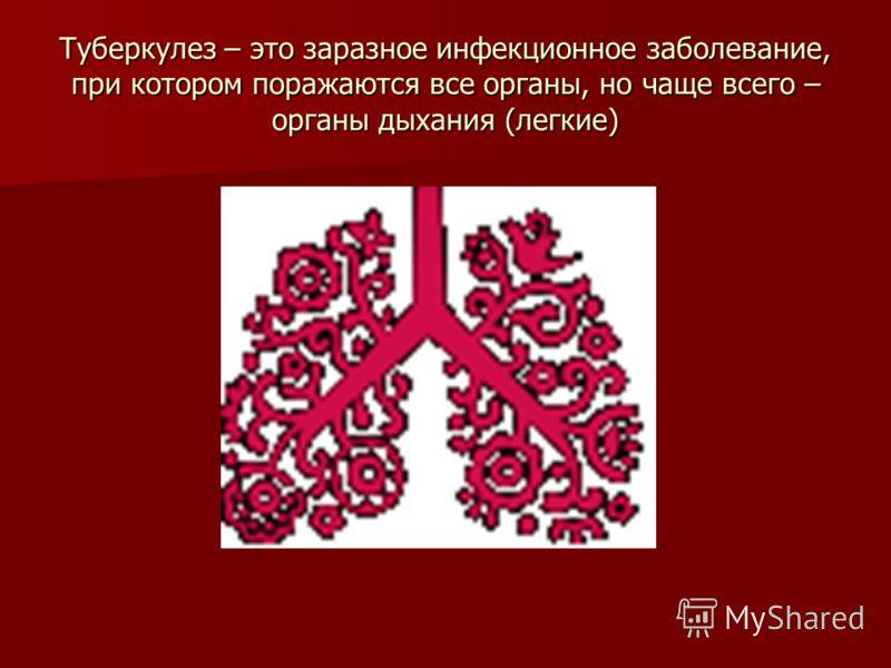 Туберкулез – это заразное инфекционное заболевание, при котором поражаются все органы, но чаще всего – органы дыхания (легкие)