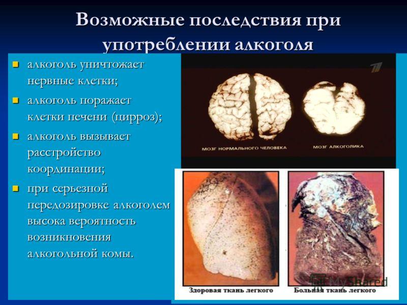 Возможные последствия при употреблении алкоголя алкоголь уничтожает нервные клетки; алкоголь уничтожает нервные клетки; алкоголь поражает клетки печени (цирроз); алкоголь поражает клетки печени (цирроз); алкоголь вызывает расстройство координации; ал