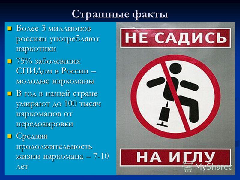 Страшные факты Более 3 миллионов россиян употребляют наркотики Более 3 миллионов россиян употребляют наркотики 75% заболевших СПИДом в России – молодые наркоманы 75% заболевших СПИДом в России – молодые наркоманы В год в нашей стране умирают до 100 т