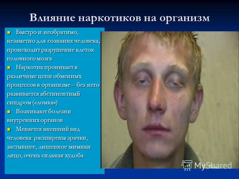 Влияние наркотиков на организм Быстро и необратимо, Быстро и необратимо, незаметно для сознания человека, происходит разрушение клеток головного мозга Наркотик проникает в Наркотик проникает в различные цепи обменных процессов в организме – без него