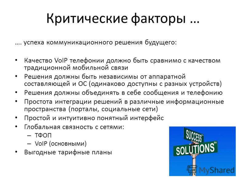 Критические факторы … …. успеха коммуникационного решения будущего: Качество VoIP телефонии должно быть сравнимо с качеством традиционной мобильной связи Решения должны быть независимы от аппаратной составляющей и ОС (одинаково доступны с разных устр