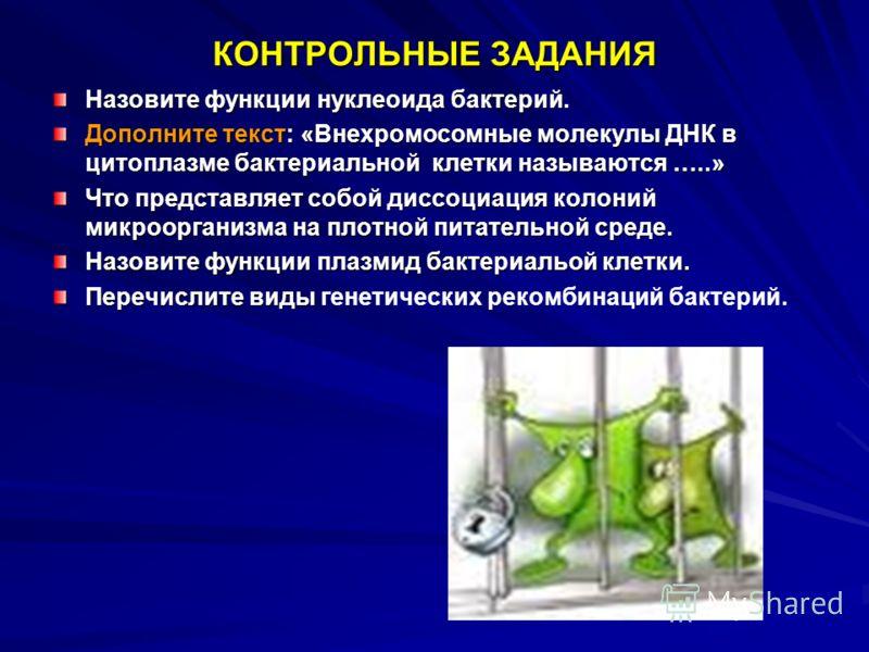 КОНТРОЛЬНЫЕ ЗАДАНИЯ Назовите функции нуклеоида бактерий. Дополните текст: «Внехромосомные молекулы ДНК в цитоплазме бактериальной клетки называются …..» Что представляет собой диссоциация колоний микроорганизма на плотной питательной среде. Назовите