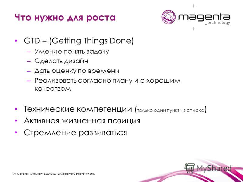 All Materials Copyright © 2000-2012 Magenta Corporation Ltd. Что нужно для роста GTD – (Getting Things Done) – Умение понять задачу – Сделать дизайн – Дать оценку по времени – Реализовать согласно плану и с хорошим качеством Технические компетенции (