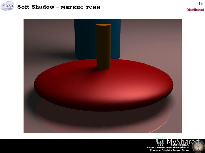 Distributed Галинский В.А. Физико-математический лицей 30 Computer Graphics Support Group 15 Soft Shadow – мягкие тени