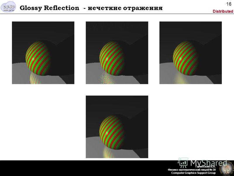 Distributed Галинский В.А. Физико-математический лицей 30 Computer Graphics Support Group 16 Glossy Reflection - нечеткие отражения