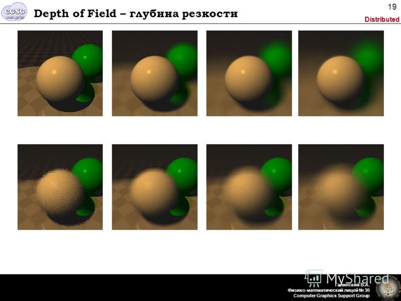 Distributed Галинский В.А. Физико-математический лицей 30 Computer Graphics Support Group 19 Depth of Field – глубина резкости