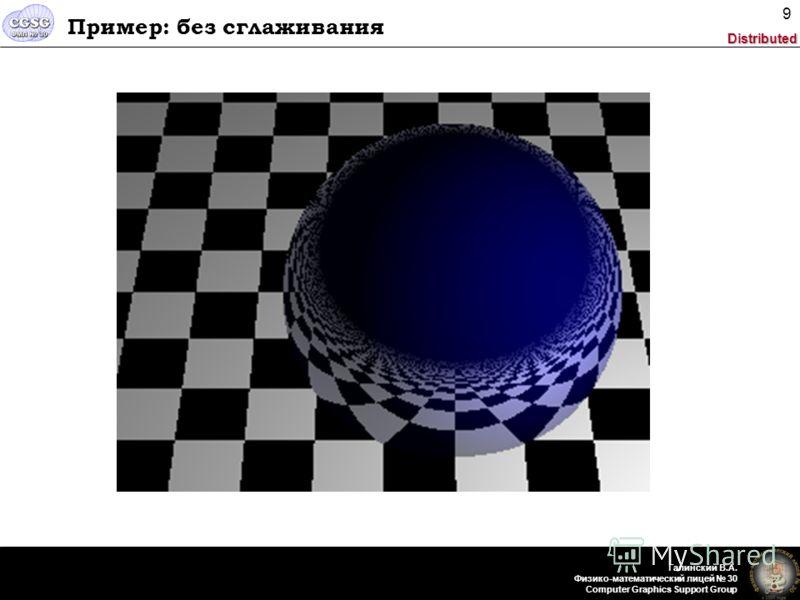 Distributed Галинский В.А. Физико-математический лицей 30 Computer Graphics Support Group 9 Пример: без сглаживания