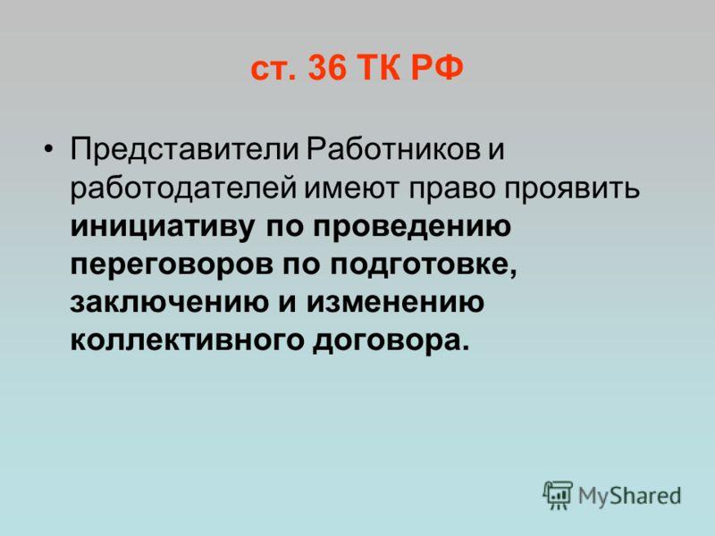 ст. 36 ТК РФ Представители Работников и работодателей имеют право проявить инициативу по проведению переговоров по подготовке, заключению и изменению коллективного договора.
