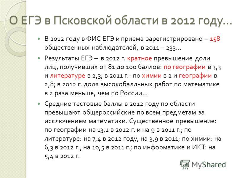 О ЕГЭ в Псковской области в 2012 году … В 2012 году в ФИС ЕГЭ и приема зарегистрировано – 158 общественных наблюдателей, в 2011 – 233… Результаты ЕГЭ – в 2012 г. кратное превышение доли лиц, получивших от 81 до 100 баллов : по географии в 3,3 и литер