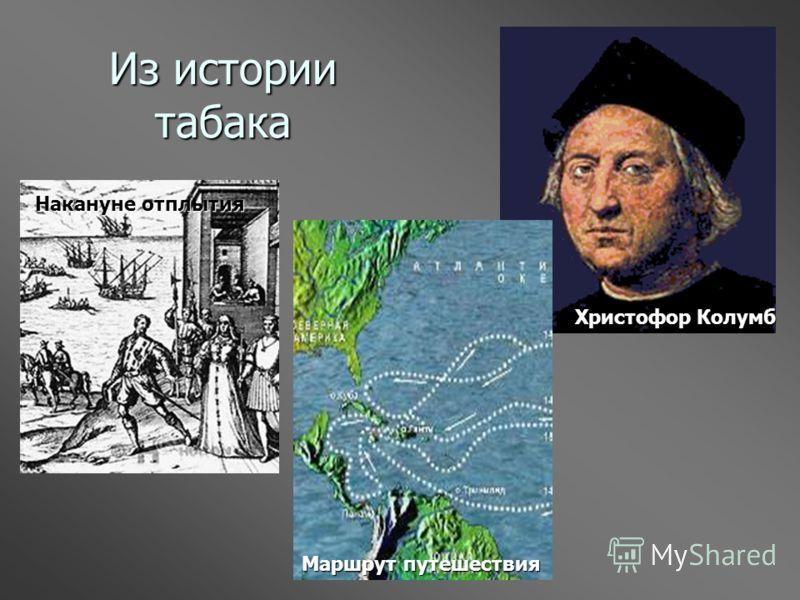 Из истории табака Христофор Колумб Накануне отплытия Маршрут путешествия