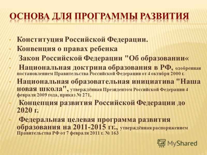 Конституция Российской Федерации. Конвенция о правах ребенка Закон Российской Федерации