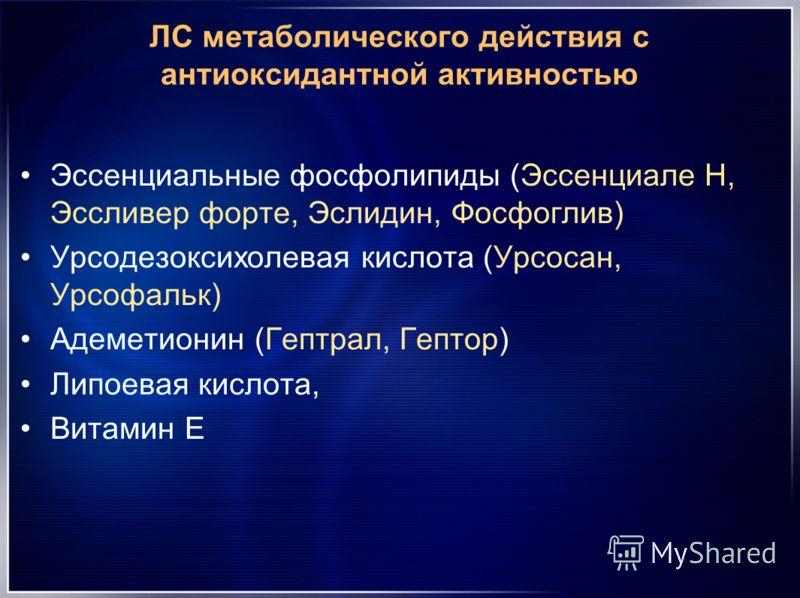 ЛС метаболического действия с антиоксидантной активностью Эссенциальные фосфолипиды (Эссенциале Н, Эссливер форте, Эслидин, Фосфоглив) Урсодезоксихолевая кислота (Урсосан, Урсофальк) Адеметионин (Гептрал, Гептор) Липоевая кислота, Витамин Е