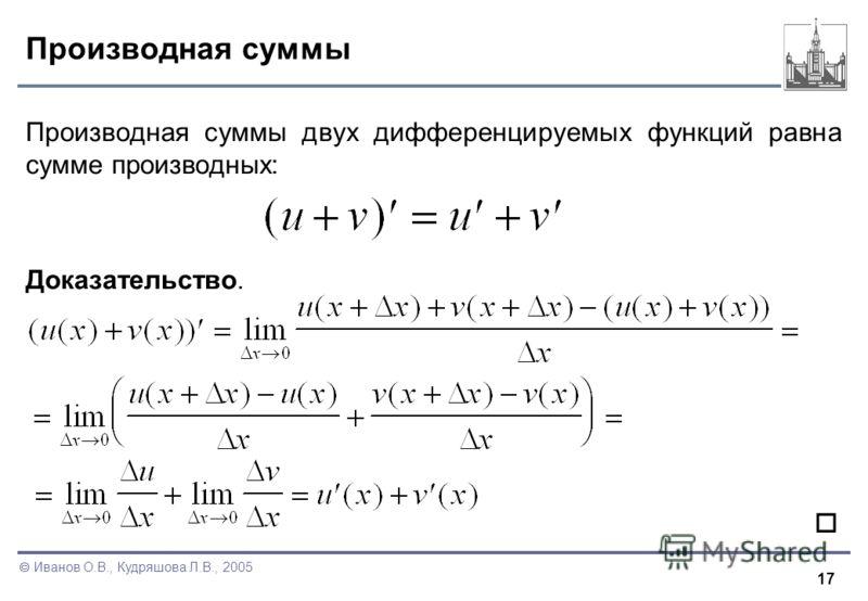 17 Иванов О.В., Кудряшова Л.В., 2005 Производная суммы Производная суммы двух дифференцируемых функций равна сумме производных: Доказательство.