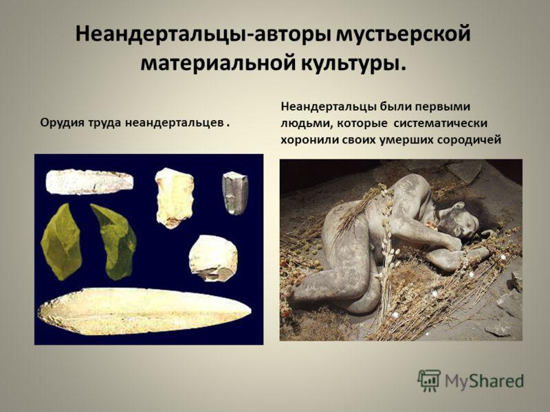 Неандертальцы-авторы мустьерской материальной культуры. Орудия труда неандертальцев. Неандертальцы были первыми людьми, которые систематически хоронили своих умерших сородичей