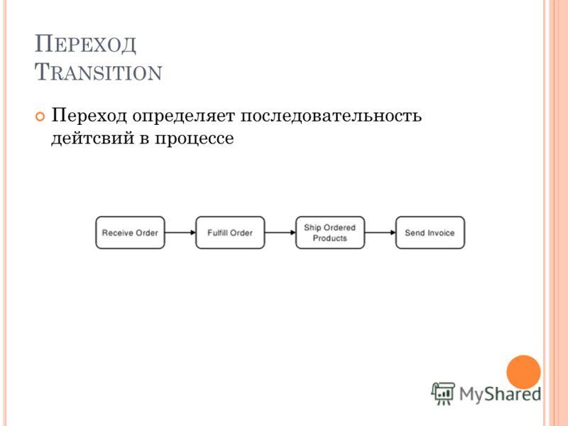 П ЕРЕХОД T RANSITION Переход определяет последовательность дейтсвий в процессе