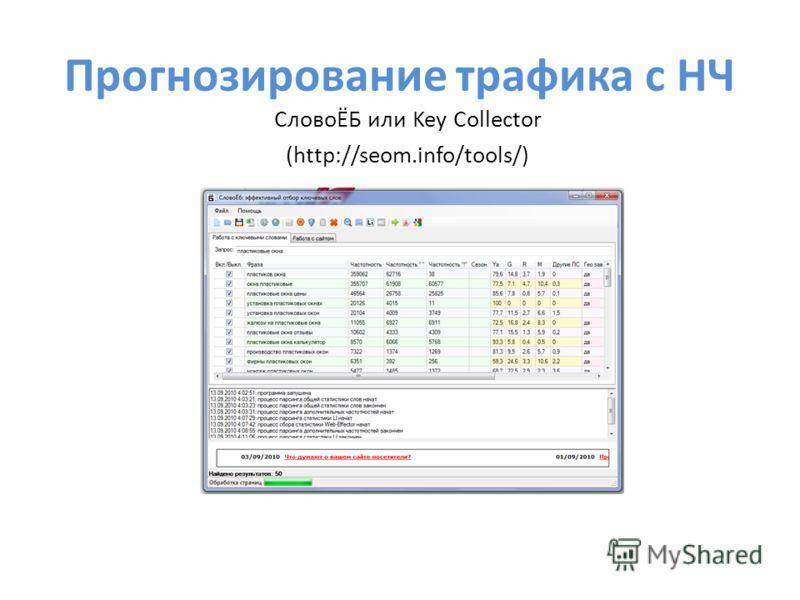 Прогнозирование трафика с НЧ СловоЁБ или Key Collector (http://seom.info/tools/)