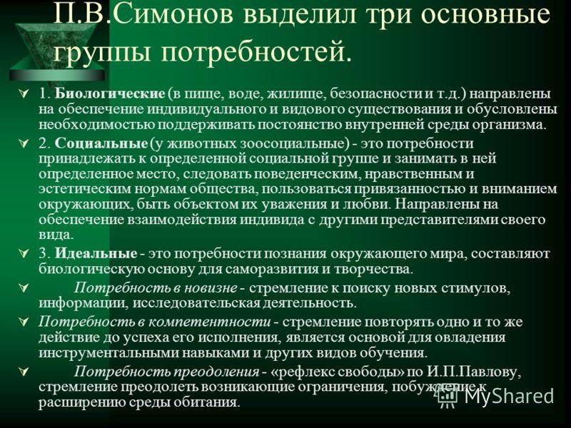 П.В.Симонов выделил три основные группы потребностей. 1. Биологические (в пище, воде, жилище, безопасности и т.д.) направлены на обеспечение индивидуального и видового существования и обусловлены необходимостью поддерживать постоянство внутренней сре
