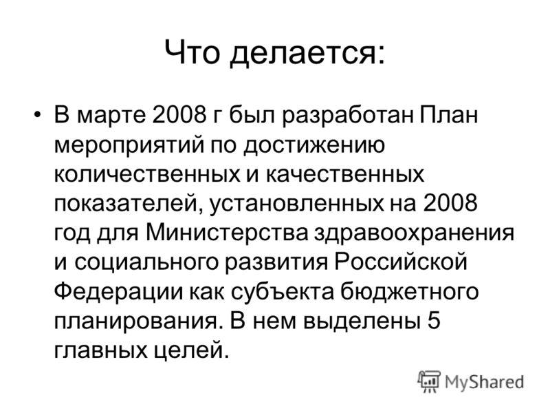 Что делается: В марте 2008 г был разработан План мероприятий по достижению количественных и качественных показателей, установленных на 2008 год для Министерства здравоохранения и социального развития Российской Федерации как субъекта бюджетного плани